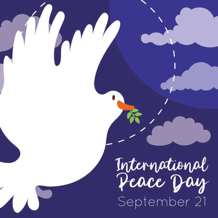 International Day of Peace lettering with dove flying in sky vector illustration design Ilustrace
