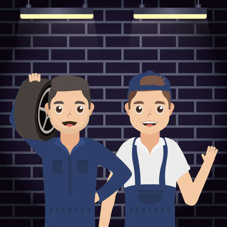 men of mechanics workers characters vector illustration design