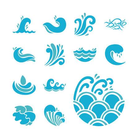 bundle of waves ocean set icons vector illustration design