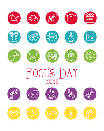 bundle of fools day set icons in red background vector illustration design