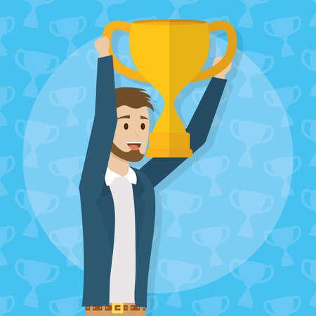 businessman holding trophy business success productivity vector illustration 矢量图像