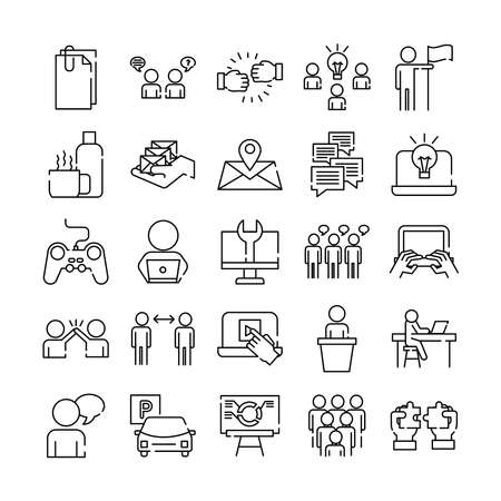 bundle of twenty five coworking set collection line style icons vector illustration design