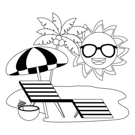 summer time holiday sun character umbrella beach sunbed sunglasses coconut palm tree vector illustration