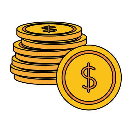 coins money stacked on white background vector illustration 矢量图像