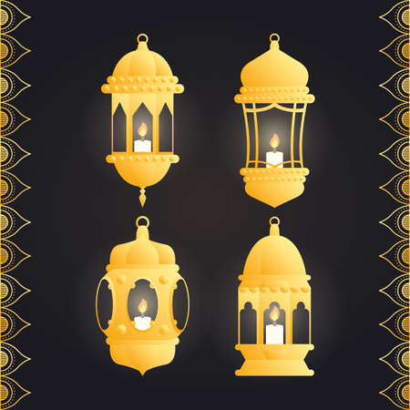 Ramadan kareem card with set golden lanterns vector illustration design Vector Illustration