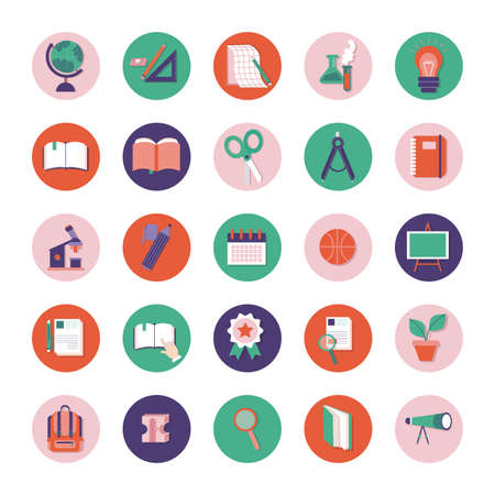 bundle of schoolline and fill style set icons vector illustration design