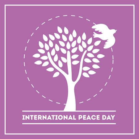 International Day of Peace lettering with dove and tree silhouette vector illustration design