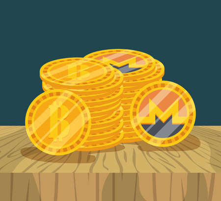 stacked bitcoins and monero cryptocurrency money finance flat design vector illustration