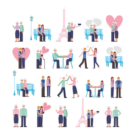 young and old parents lovers couple characters vector illustration design