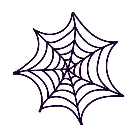halloween spider net flat style icon vector illustration design