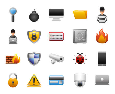 bundle of cyber security icons vector illustration design