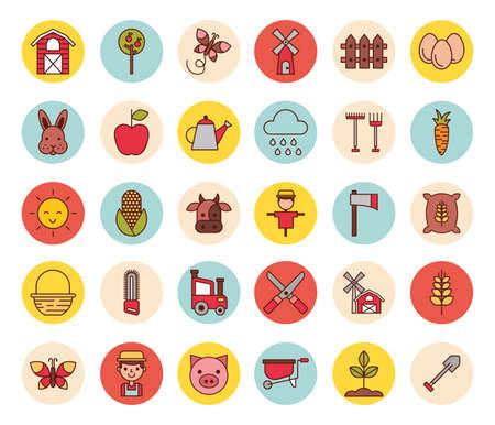 bundle of farm set icons vector illustration design