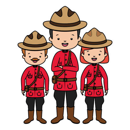 canadian police mounted characters happy canada day vector illustration Çizim