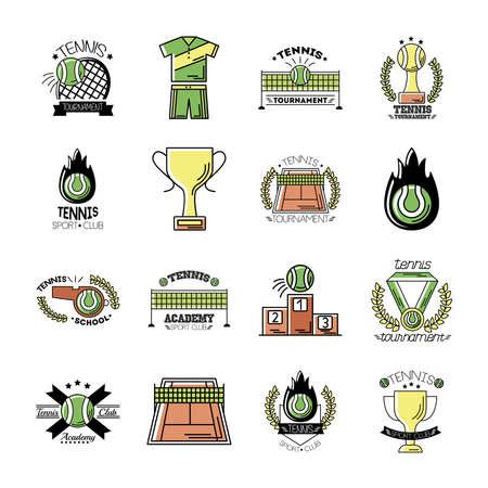 bundle of sixteen sport tennis set icons vector illustration design