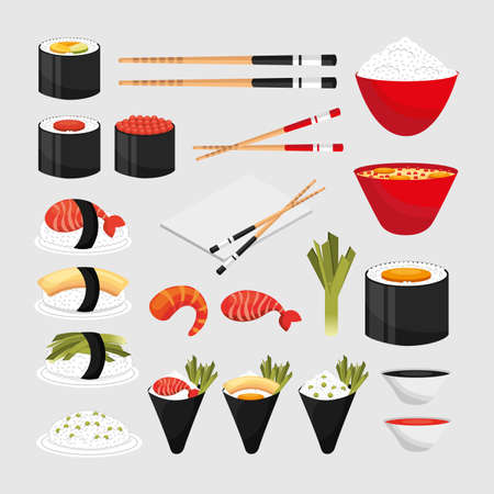 Sushi icon set design, Eat food restaurant menu dinner lunch cooking and meal theme Vector illustration Ilustrace