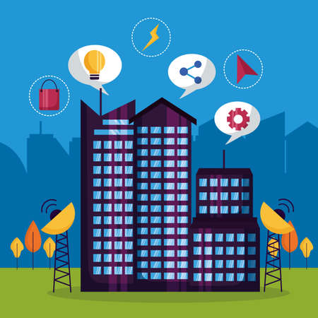 technology digital services urban smart city vector illustration