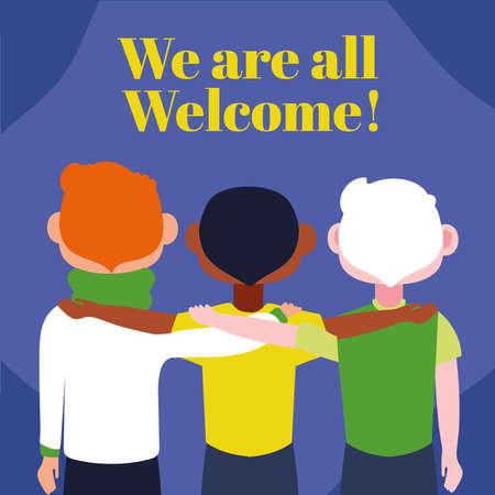 we are welcome lettering with boys group vector illustration design Ilustração