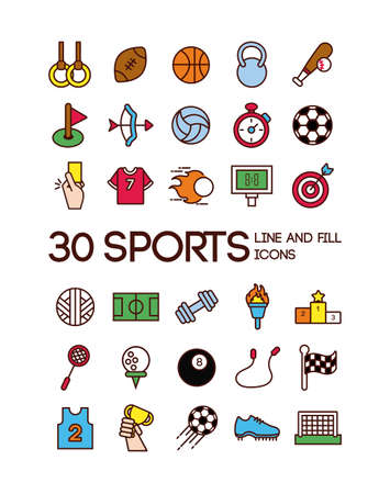 bundle of sports set line and fill icons vector illustration design