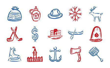 bundle of canadian set icons vector illustration design