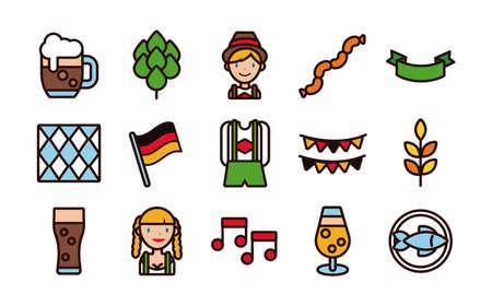 bundle of fifteen oktoberfest set icons vector illustration design Illustration