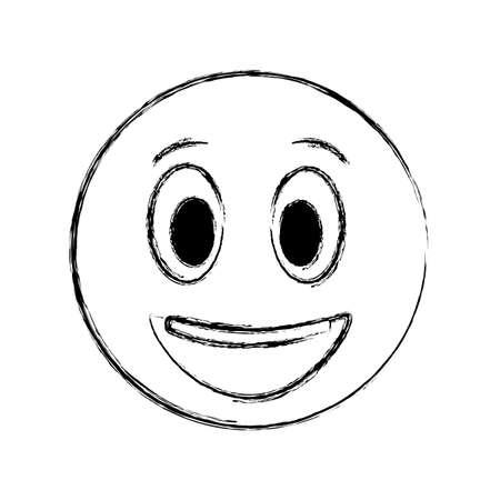 smiley emoticon face expression cartoon vector illustration Ilustração