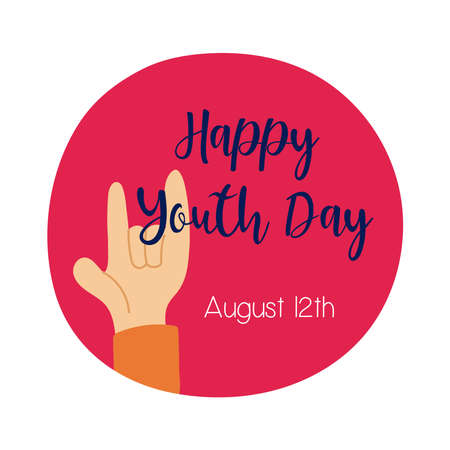 happy youth day lettering with hand rock and roll symbol flat style vector illustration design