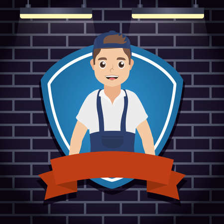 mechanic worker with shield character vector illustration design