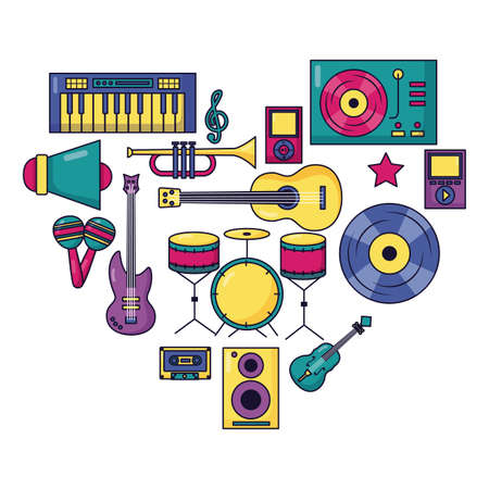 music colorful background instruments devices icons vector illustration