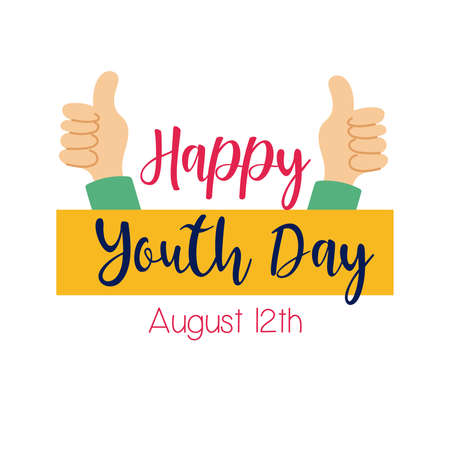 happy youth day lettering with hands like symbol flat style vector illustration design