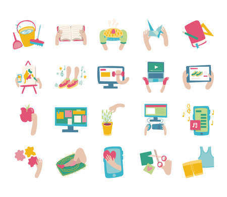 bundle of online things set icons vector illustration design 向量圖像