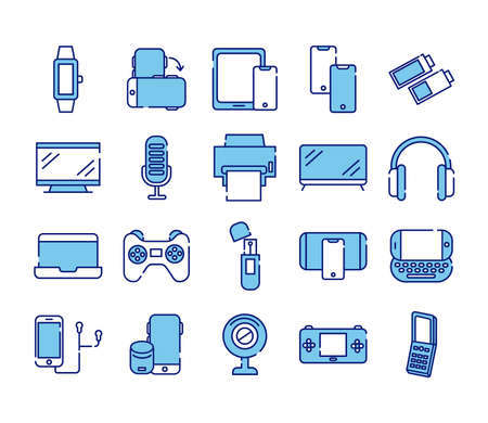 bundle of twenty devices electronics set collection icons vector illustration design