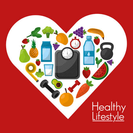Healthy lifestyle design, Fitness bodybuilding bodycare activity exercise and diet theme Vector illustration Ilustração