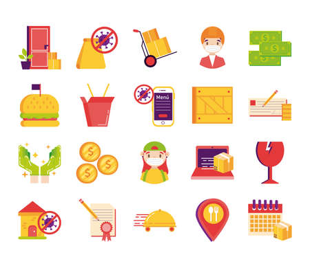 bundle of delivery set icons vector illustration design Illusztráció