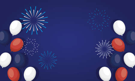 france balloons with fireworks design, Happy bastille day and french theme Vector illustration