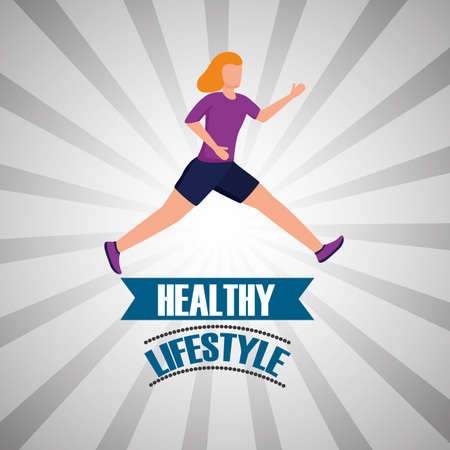 Avatar woman and healthy lifestyle design, Fitness bodybuilding bodycare activity exercise and diet theme Vector illustration Ilustração
