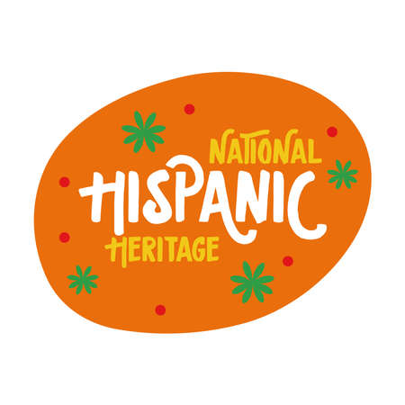 national hispanic heritage lettering with confetti in circle flat style icon vector illustration design