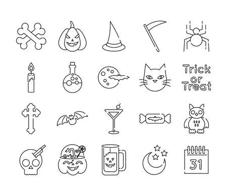 bundle of twenty halloween set collection icons vector illustration design Vettoriali