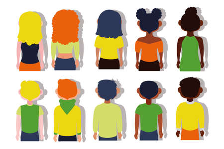 group of interracial people back Inclusion concept characters vector illustration design