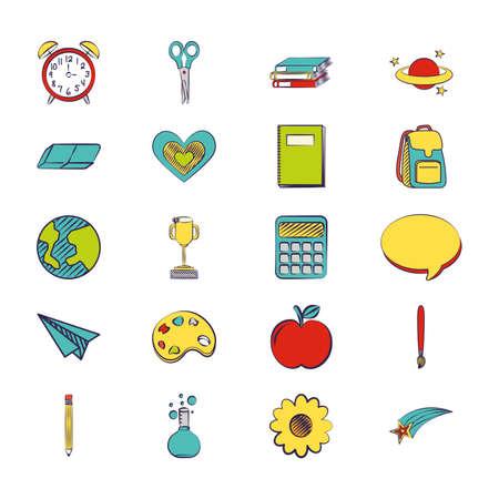 bundle of set colorful back to school icons vector illustration design  イラスト・ベクター素材