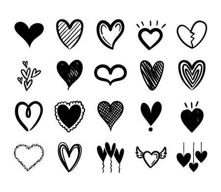 bundle of hearts love set icons vector illustration design Ilustração