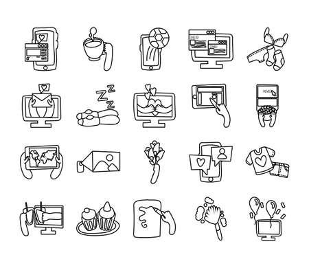 bundle of online things set icons vector illustration design 矢量图像