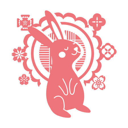 mid autumn festival card with rabbit and lace line style icon vector illustration design
