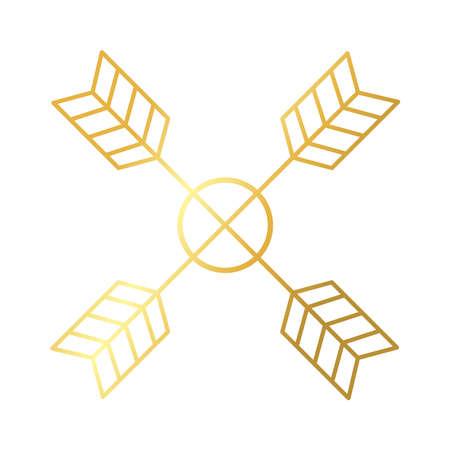 elegant arrows crossed frame decoration golden gradient style icon vector illustration design