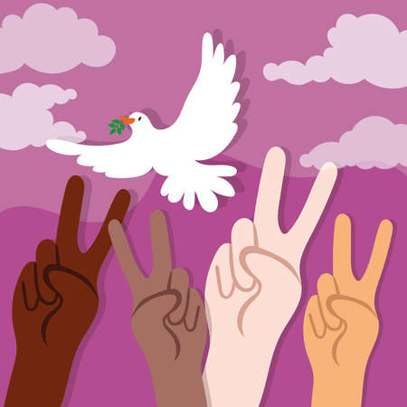 International Day of Peace lettering with dove and interracial hands vector illustration design