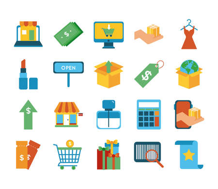 bundle of twenty shopping set collection icons vector illustration design Vettoriali
