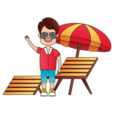 summer time holiday traveller man deck ckair and umbrella vector illustration