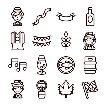 bundle of sixteen oktoberfest set collection icons vector illustration design