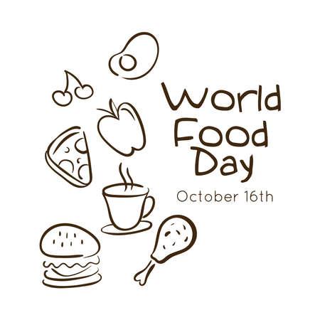 world food day celebration lettering with set fast food line style vector illustration design