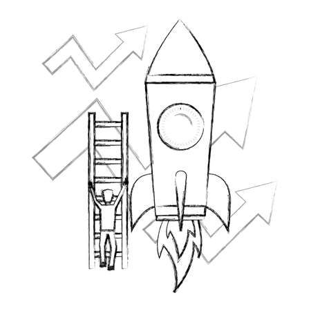 businessman climbs stairs rocket arrows growth business vector illustration 向量圖像