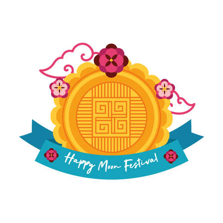 mid autumn festival card with rabbit and flower flat style icon vector illustration design